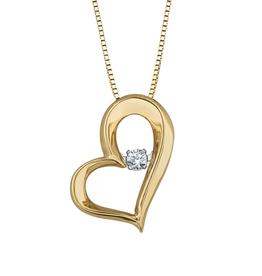 10K Yellow Gold (0.05ct) Dancing Diamond Heart Pendant