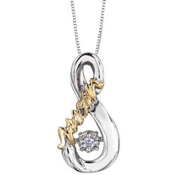 Silver & Yellow Gold (0.03cttw) Dancing Diamond Pendant