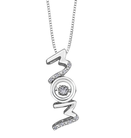 "Sterling Silver (0.04ct) Dancing Diamond ""MOM"" Pendant"