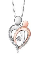 10K White & Rose Gold (0.07cttw) Dancing Mother and Child Pendant