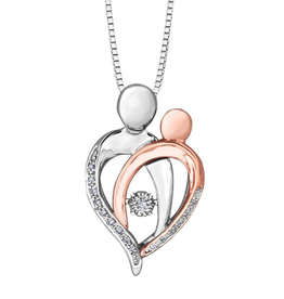 10K White and Rose Gold (0.07ct) Dancing Diamond Mother and Child Pendant