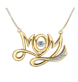 "10K Yellow Gold (0.10ct) Dancing Diamond ""MOM"" Necklace"