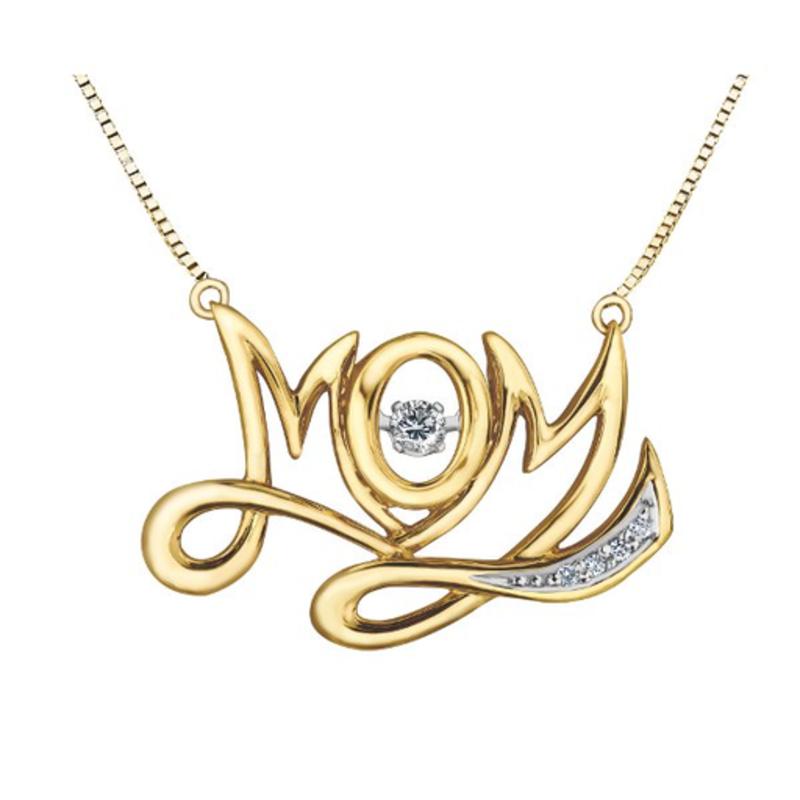 10K Yellow Gold (0.10ct) Dancing Diamond MOM Necklace