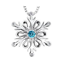 Dancing Blue Topaz & Diamond Snowflake Pendant