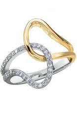 Yellow and White Gold Geometric Diamond Ring