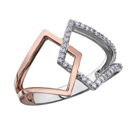 White and Rose Gold Geometric Diamond Ring