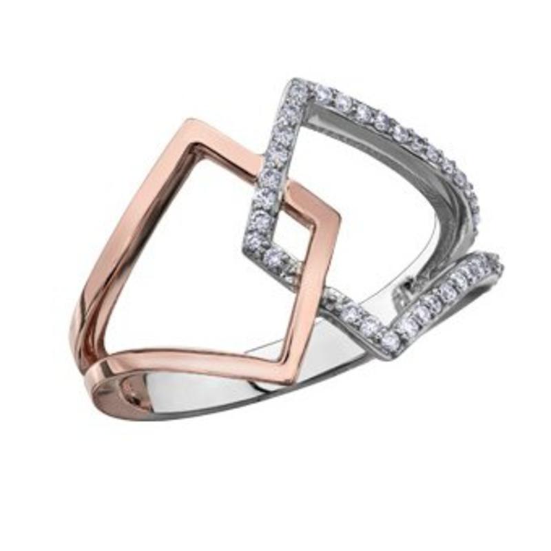 White and Rose Gold Geometric Diamond Ring