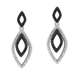 White Gold Diamond and Black Diamond Earrings  (0.34ct)