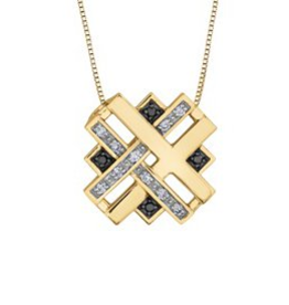 Yellow Gold (0.084ct) Diamonds and Black Diamonds Fancy Pendant