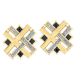 Yellow Gold (0.14ct) Diamonds and Black Diamonds Fancy Stud Earrings