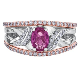 White and Rose Gold Pink Sapphire Diamond Ring