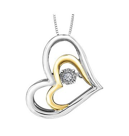 Silver & Yellow Gold (0.02ct) Dancing Diamond Pendant