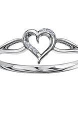 White Gold Diamond Heart Ring (0.015ct)