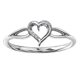White Gold Diamond Heart Ring (0.015ct)