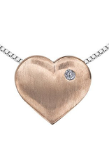 Sterling Silver and 10K Rose Gold (0.01ct) Diamond Heart 3 in 1 Pendant