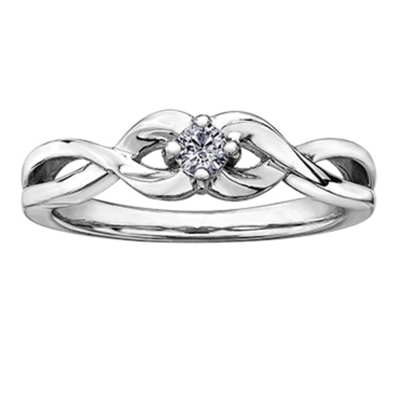 10K White Gold (0.10ct) Canadian Diamond Infinity Promise Ring
