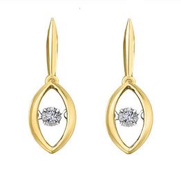 10K Yellow Gold (0.04ct) Illusion Set Dancing Diamond Earrings