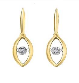 Yellow Gold Dancing Diamond Dangle Earrings (0.04ct)