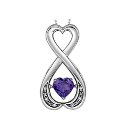 Silver Heart Amethyst and Diamond Pulse Pendant