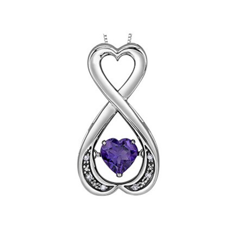 Silver Heart Amethyst and Diamond Pulse Pendant