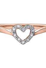 10K Rose Gold (0.05ct) Diamond Heart Ring
