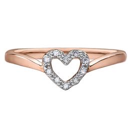 10K Rose Gold (0.05ct) Diamond Heart Promise Ring