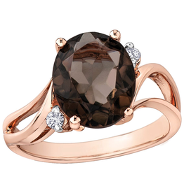 Rose Gold Smokey Quartz and Diamond Ring