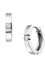 10K White Gold (0.20ct) Diamond Huggie Hoop Earrings