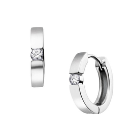 10K White Gold (0.33ct) Diamond Hoop Huggie Earrings