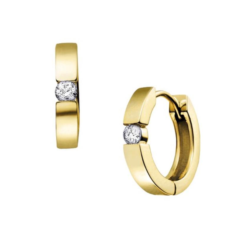 10K Yellow Gold (0.20ct) Diamond Huggie Hoop
