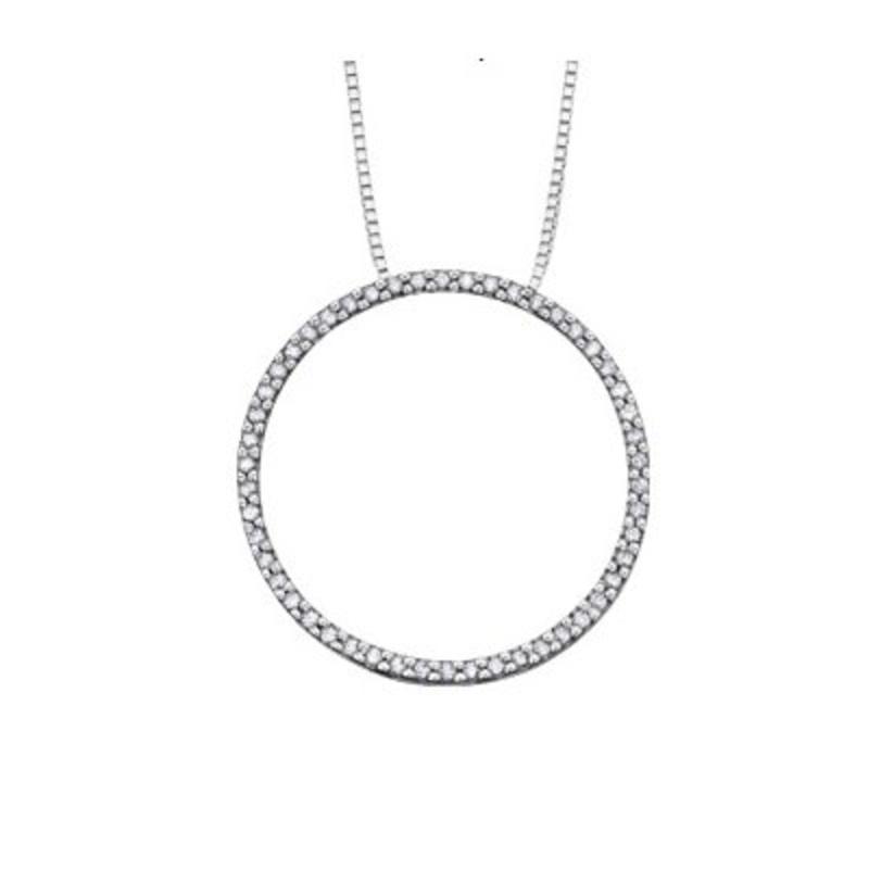 White Gold (0.10ct) Circle of Life Diamond Pendant