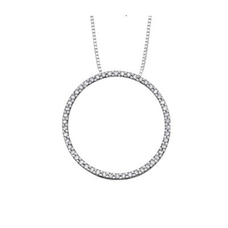 White Gold (0.25ct) Circle of Life Diamond Pendant