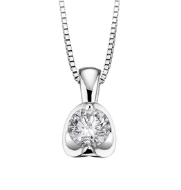 Half Moon Diamond Solitaire Pendant (0.30ct) 18K White Gold