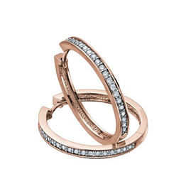 10K Rose Gold (0.10ct) Diamond Hoop Earrings