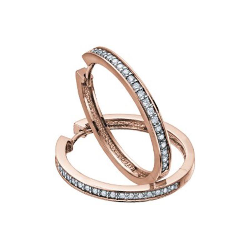 10K Rose Gold (0.10ct) Diamond Hoop Earrings