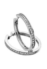 10K White Gold (0.33ct) Diamond Hoop Earrings