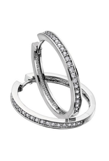 10K White Gold (0.50ct) Diamond Hoop Earrings