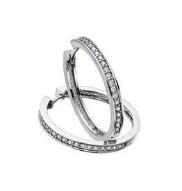 10K White Gold (0.50ct) Diamond Hoop Earrings