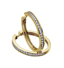 10K Yellow Gold (0.50ct) Diamond Hoop Earrings