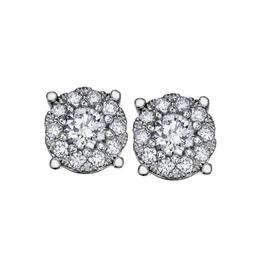 14K White Gold (1.00ct) Cluster Diamond Earrings