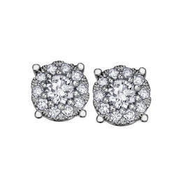 Starburst White Gold (0.18ct) Cluster Diamond Stud Earrings