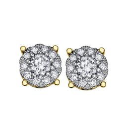 10K Yellow Gold (0.13ct) Diamond Cluster Earrings