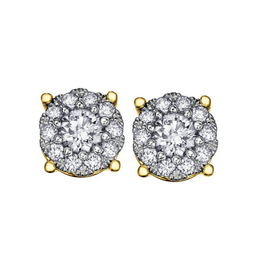 14K Yellow Gold (0.50ct) Diamond Cluster Earrings