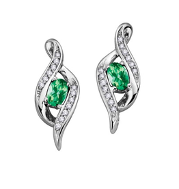 White Gold Diamond Emerald May Birthstone Earrings