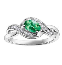 10K White Gold Emerald Diamond Infinity Ring