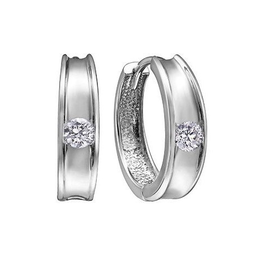 10K White Gold (0.15ct) Diamond Huggie Hoop Earrings