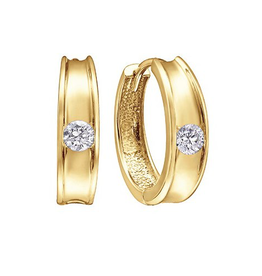10K Yellow Gold (0.10ct) Diamond Huggie Hoop Earrings