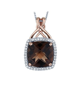 Smokey Quartz & Diamond White & Rose Gold Pendant