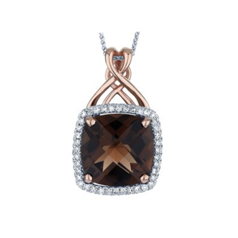 10K White and Rose Gold Smokey Quartz and Diamond Pendant