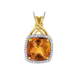 Yellow Gold Citrine Diamond Pendant